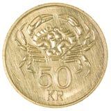 moeda da coroa 50 islandêsa Fotos de Stock Royalty Free