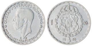 1 moeda da coroa 1950 isolada no fundo branco, Suécia Fotos de Stock Royalty Free