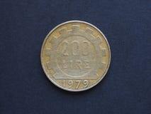 Moeda da ITL da lira italiana, moeda de Itália a TI Fotografia de Stock