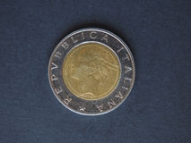 Moeda da lira 500 italiana (ITL) Imagem de Stock Royalty Free