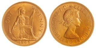 1 moeda da moeda de um centavo 1965 isolada no fundo branco, Grâ Bretanha Imagens de Stock