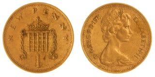 1 moeda da moeda de um centavo 1971 isolada no fundo branco, Grâ Bretanha Imagem de Stock Royalty Free