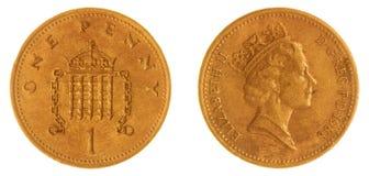 1 moeda da moeda de um centavo 1988 isolada no fundo branco, Grâ Bretanha Fotos de Stock Royalty Free