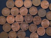 1 moeda da moeda de um centavo, Reino Unido Imagem de Stock Royalty Free