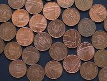 1 moeda da moeda de um centavo, Reino Unido Fotografia de Stock Royalty Free