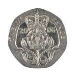 Moeda das moedas de um centavo de Ingleses vinte isolada no branco Fotos de Stock