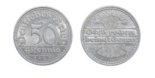 Moeda de Alemanha 50 PFENINGS 1920 Foto de Stock Royalty Free