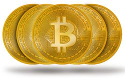 Moeda de Bitcoin BTC com logotipo isolada no branco foto de stock