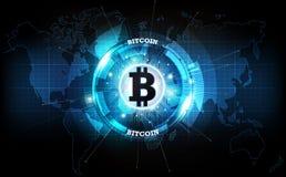 Moeda de Bitcoin e holograma digital do globo do mundo, dinheiro digital futurista e conceito mundial da rede da tecnologia, veto