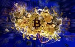 Moeda de Bitcoin e monte de pepitas de ouro Fotos de Stock Royalty Free