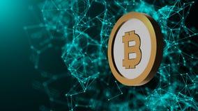 A moeda de Bitcoin e muitas conexões de rede, fundo abstrato gerado por computador da tecnologia, 3d rendem Fotos de Stock Royalty Free