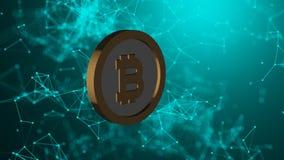 A moeda de Bitcoin e muitas conexões de rede, fundo abstrato gerado por computador da tecnologia, 3d rendem Imagens de Stock