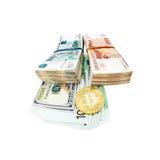 Moeda de Bitcoin e pilhas de cédulas do russo Foto de Stock Royalty Free