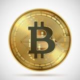 Moeda de Bitcoin Símbolo digital do blockchain do dinheiro dourado de Cryptocurrency isolado no branco Moeda cripto do vetor ilustração stock