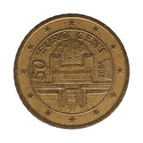 moeda de 50 centavos, Áustria, Europa Fotografia de Stock