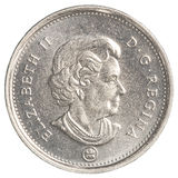 moeda de 5 centavos canadenses isolada no fundo branco Imagem de Stock