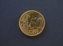 moeda de 50 centavos, União Europeia Foto de Stock Royalty Free
