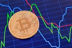 Moeda de Cryptocurrency Bitcoin sobre a tela da tabuleta Foto de Stock