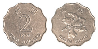 Moeda de 2 dólares de Hong Kong Fotos de Stock