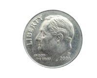 Moeda de dez centavos americana Fotografia de Stock Royalty Free