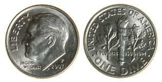 Moeda de dez centavos americana desde 2007 Imagens de Stock Royalty Free
