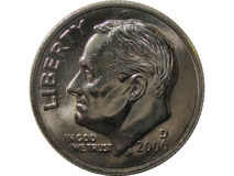 Moeda de dez centavos americana isolada Imagem de Stock Royalty Free