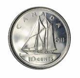 Moeda de dez centavos canadense Imagens de Stock