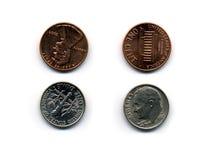 Moeda de dez centavos e moeda de um centavo Imagens de Stock Royalty Free