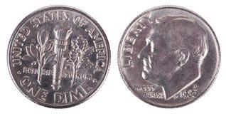Moeda de dez centavos isolada - ambos os lados frontais Fotografia de Stock Royalty Free