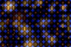 Moeda de Digitas e conceito financeiro do negócio, parede do bitcoin, b Imagens de Stock