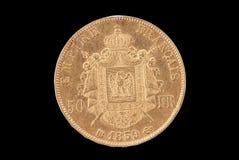Moeda de ouro antiga francesa. 50 francos. Reverso Foto de Stock Royalty Free