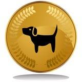 Moeda de ouro - cão Fotografia de Stock