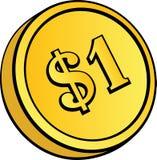 Moeda de ouro com sinal de dólar Foto de Stock