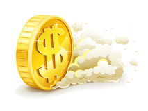 Moeda de ouro do rolamento com sinal de dólar Fotos de Stock