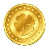 Moeda de ouro do trevo de quatro folhas com estrelas Dia do ` s de St Patrick irish shamrock afortunado Vetor Fotografia de Stock Royalty Free