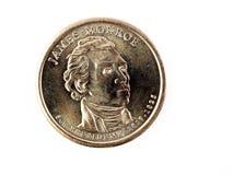A moeda de ouro James Monroe dos E.U. dirige o dinheiro Fotografia de Stock