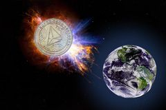 A moeda de ouro de TRX cai à terra do espaço Elementos desta imagem fornecidos pela NASA fotografia de stock