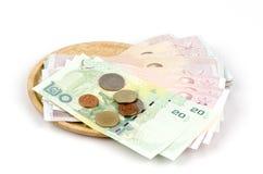 Moeda de papel e moedas de Tailândia Foto de Stock