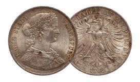 A moeda de prata alem?o 2 de Alemanha thaler dobro Brunsvique e Lueneburg de dois thaler minted 1856 imagem de stock royalty free