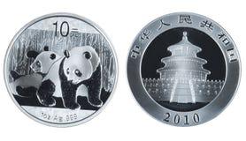 Moeda de prata comemorativa chinesa Fotos de Stock Royalty Free