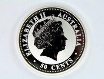 Moeda de prata de Austrália Fotografia de Stock