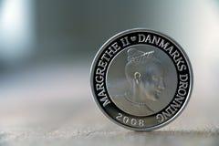 Moeda de prata dinamarquesa com a rainha dinamarquesa imagem de stock royalty free