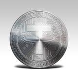 Moeda de prata do baraço isolada na rendição branca do fundo 3d Fotografia de Stock Royalty Free