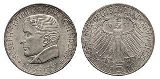 Moeda de prata Eichendorff 1957 da marca de Alemanha 5 imagem de stock royalty free