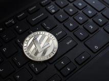 Moeda de prata física do litecoin da moeda de Digitas Imagens de Stock