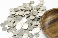 Moeda de prata isolada no branco Imagens de Stock Royalty Free