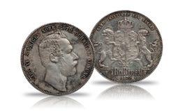 A moeda de prata quatro de Noruega da Suécia rigsdaler de 4 thaler minted Carl 1870 XV isolado no fundo branco fotos de stock