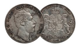 A moeda de prata quatro de Noruega da Su?cia rigsdaler de 4 thaler minted Carl 1870 XV isolado no fundo branco fotos de stock