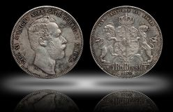 A moeda de prata quatro de Noruega da Su?cia rigsdaler de 4 thaler minted Carl 1870 XV imagens de stock