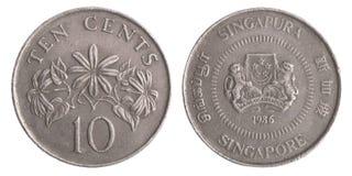 Moeda de Singapura dez centavos foto de stock